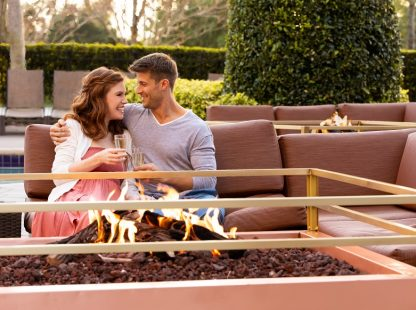 couple enjoying firepit